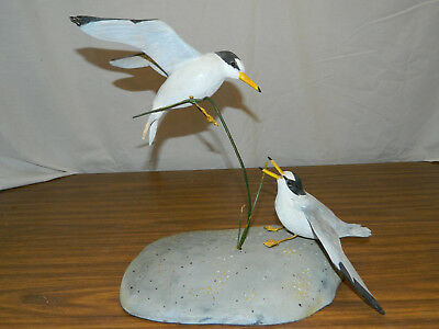 """Wood Hand Carved Painted Shorebird Flying Florida Least Tern Mating Pair""""Glover"""""""