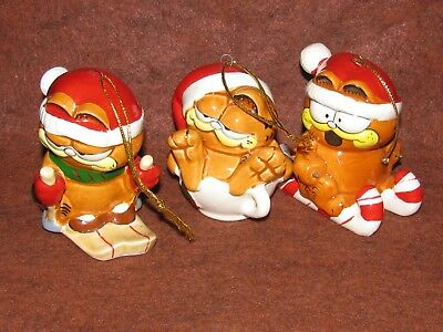 3 Enesco Garfield Christmas Ornaments 1978 - Angel & Santa w/ Bell