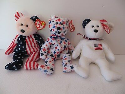 Ty Beanie Baby Bears America Spangle 1999 Red White Blue 2003 Lot Of 3 Retired