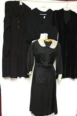 EARLY VINTAGE LOT 3 DRESSES & 1 OLD STOCK BLAZER 4 mending or pattern