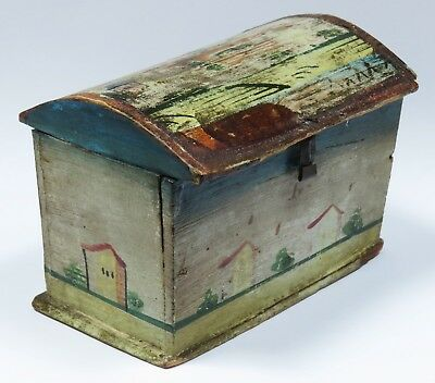 ANTIQUE PRIMITIVE PAINTED WOOD GERMAN ERZGEBIRGE BOX  / DOLL HOUSE TRUNK c 1830
