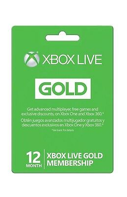 Microsoft Xbox LIVE 12 Month Gold Membership for Xbox 360/ONE VPN REQUIRED