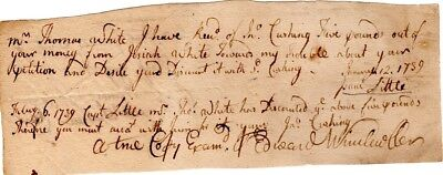 1739, Edward Winslow, Loyalist, document signed as clerk of courts, Plymouth, MA