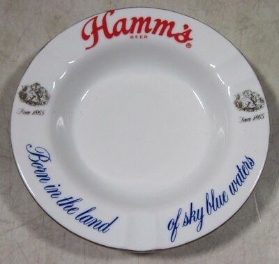 Vintage Hamm's Beer Ceramic Porcelain Ashtray Born In The Land Of Sky Blue Water