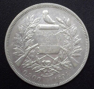 Guatemala 1894 Silver Peso  Km#210  Y#84  Extremely Fine