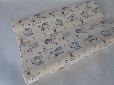 "NEW - 1.5 YARD ROLL X 18"" Country Apples Blue Shelf Liner Paper Contact Paper"