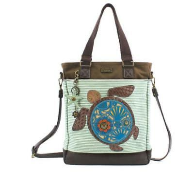 Chala Turtle Applique Work Tote Handbag Purse NWT Teal Stripe