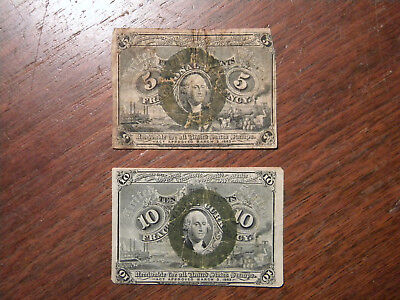 2   1863  Fractional Currency  Peices  5 cent  &  10 cent
