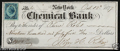 UNITED STATES New York Chemical Bank 1945.25 Dollars 1877 XF+ Bank check
