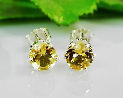 Genuine Golden Citrine Round Sterling Silver Earrings (Choose Your Size)