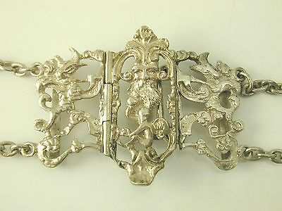 """Antique Victorian sterling silver belt 24 1/2"""" long dated 1897 Thomas White 134g"""