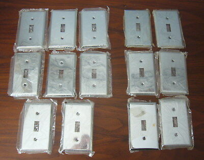 Vintage 14 Chrome single toggle Switch wall Plates NOS (8 with screws)