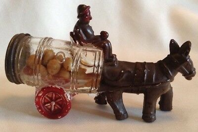 Vintage Original Glass Mule Pulling Barrel With Man On Cart Candy Container
