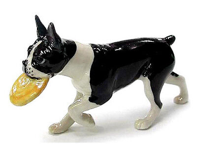 New NORTHERN ROSE Porcelain BOSTON TERRIER Dog Figurine Statue Figure FRISBEE