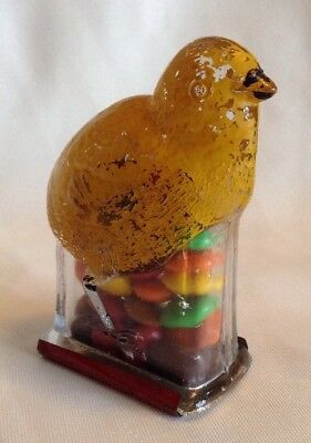 Vintage Original Glass Baby Chick Candy Container