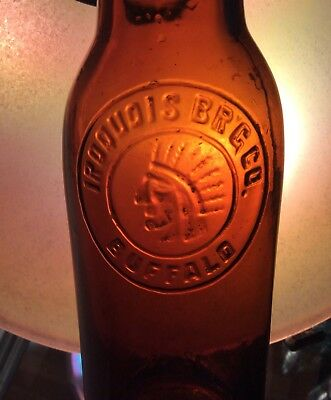 Antique Iroquois Embossed Beer Bottle Indian Head Logo Buffalo NY Advertising