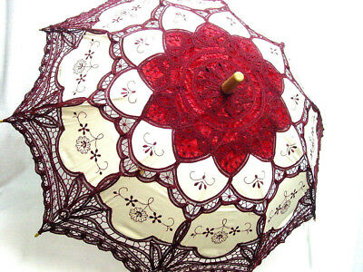 Cotton Lace Parasol wine ecru battenburg lace Victorian Edwardian vintage style