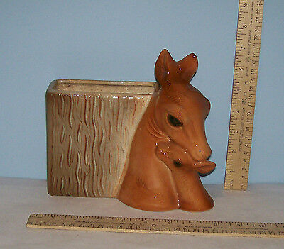 ROYAL COPLEY DEER PLANTER - Unmarked - Vintage Pottery Planter - DOE w/ FAWN