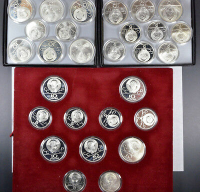 1980 Moscow, Russia Olympic Roubles Silver Proof & Unc 28-Coin Set W/ Coas !!!