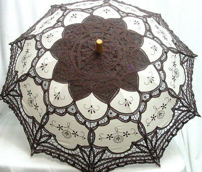 Cotton Lace Parasol brown ecru battenburg lace Victorian Edwardian vintage style