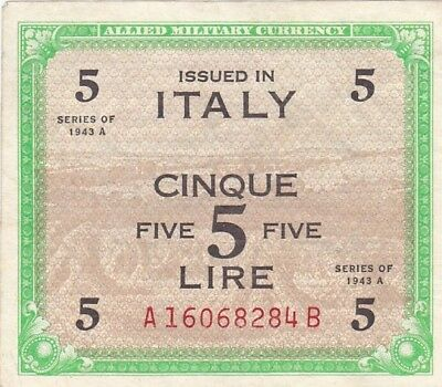 1943 A Italy 5 Lire Allied Military Currency Note, Pick 18b