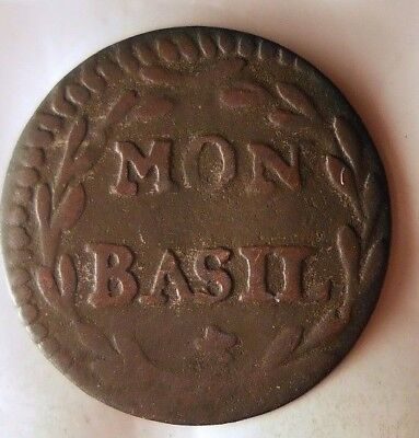 1750 ca SWITZERLAND (BASEL) MON - Very Rare Swiss Canton Coin - Lot #921