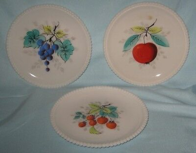 "Westmoreland 3 Milk Glass Beaded Edge Fruit Plates 7.5"" Grape Apple Strawberry"