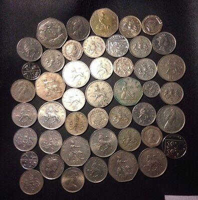 Vintage Great Britain Coin Lot - DECIMAL COINS - 46 Coins - Older - Lot #921