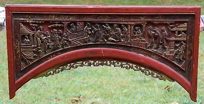 Antique 19thC Chinese Genre Carved Wood Architectural Fragment Lacquer & Gilt