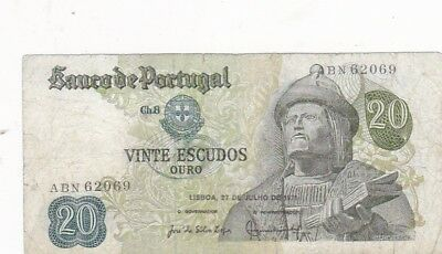 1971 Portugal 20 Escudos Note, Pick 173
