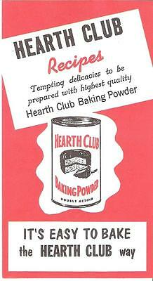 "8 Page Recipe Brochure Hearth Club Baking Powder ""New Old Stock"" Rumford  R.I."