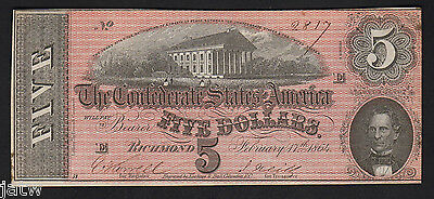 U.S.A - Confederate States P-67. 1864 5 Dollars.. 7th Issue, 6 Series.. gEF