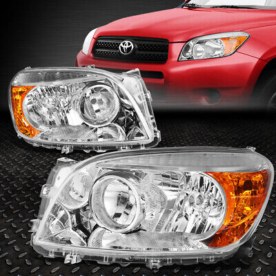 For 2006-2008 Toyota Rav4 Pair Chrome Housing Amber Corner Bumper Headlight/lamp