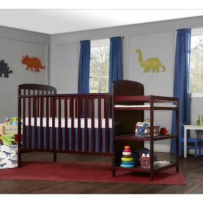 New Dream On Me Anna 4-in-1 Full Size Crib and Changing Table Combo - Cherry