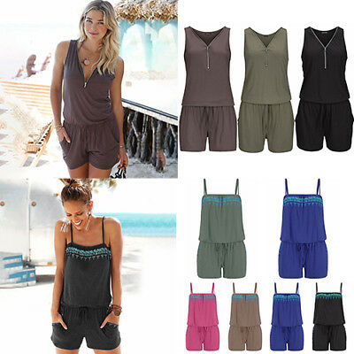Women Jumpsuit Short Trousers Summer Rompers Beach Casual Sleeveless Playsuit