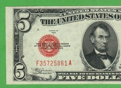 $5 DOLLAR 1928 RED SEAL United States Legal Tender Note USA Bill Vintage Money