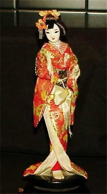 Vintage Japanese Chinese Asian Geisha Doll Figure Hand Painted Porcelain Face