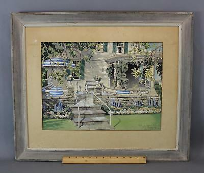 WILLIAM JEWELL Architectural Terrace Garden Watercolor Painting, Vinton Freedly