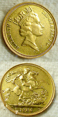 1986 Gold Full Sovereign St George 22K Gold Coin No Reserve