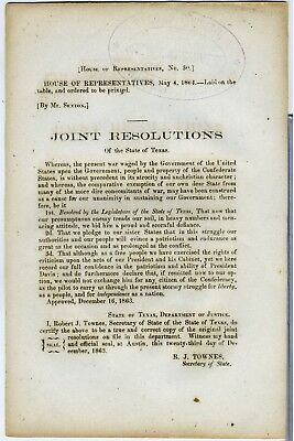 Confederate Imprint – Joint Resolution Of The State Of Texas - 1864