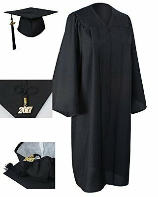 GraduationForYou Matte Graduation Gown Cap Tassel 2017+2018 New