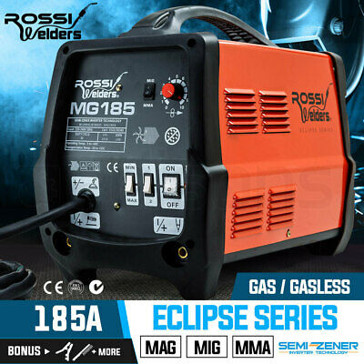 NEW ROSSI 185Amp MIG ARC MAG Gas Gasless Welder AC Welding Machine Inverter Tool