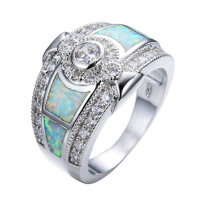 925 Sterling Silver White Fire Opal Wedding Rings For Women Engagement Ring