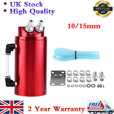 Universal Aluminium Red Round Oil Catch Tank Breather Can 10 & 15Mm Fittings