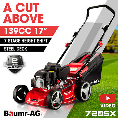 "NEW Baumr-AG Lawn Mower 139cc 16""  5HP Petrol Push Lawnmower 4 Stroke Engine"