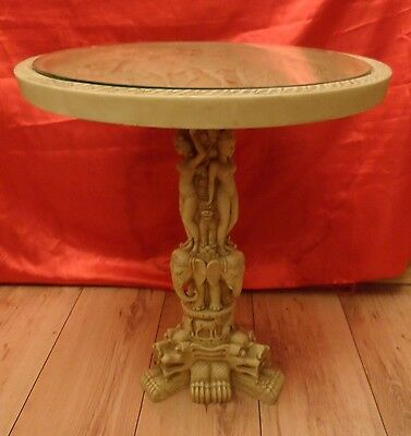 Vintage Asian CARVED Resin Table, With Glass Top, Carved  Pedestal. Looks Great