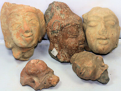 Five large ancient Central Asian pottery heads / fragments