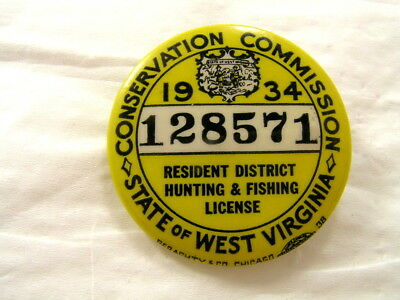 Vintage Pin 1934 West Virginia Resident Hunting/ Fishing Badge & License W/ Case