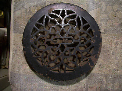 "Antique Victorian 8"" Round Register Vent Cast Iron Floor Heat Air Grate Louvers"