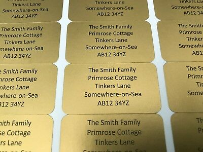 100 PERSONALISED MINI LABELS - LABEL SIZE 21mm X 38mm -  Many Colours